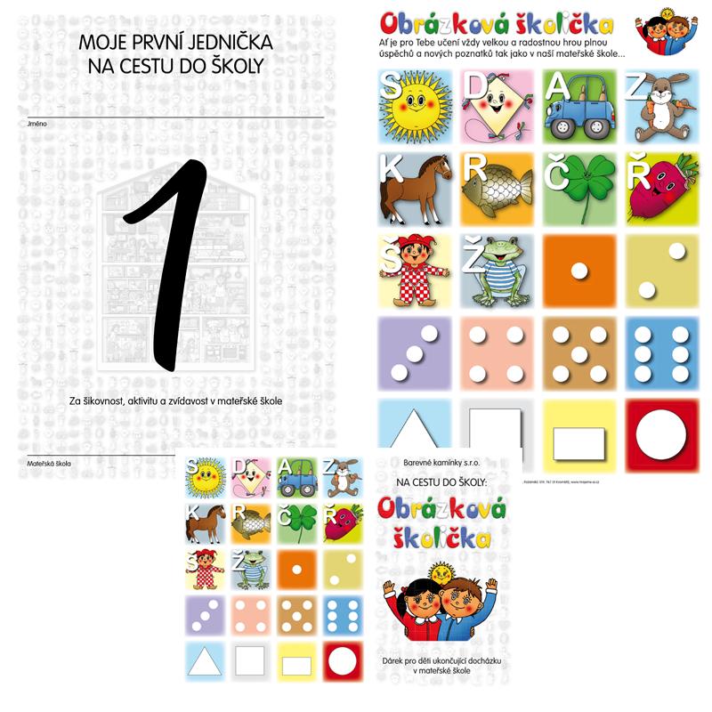 Komplet č. 5: Sešit Obrázková školička, samolepky a jednička na cestu do školy