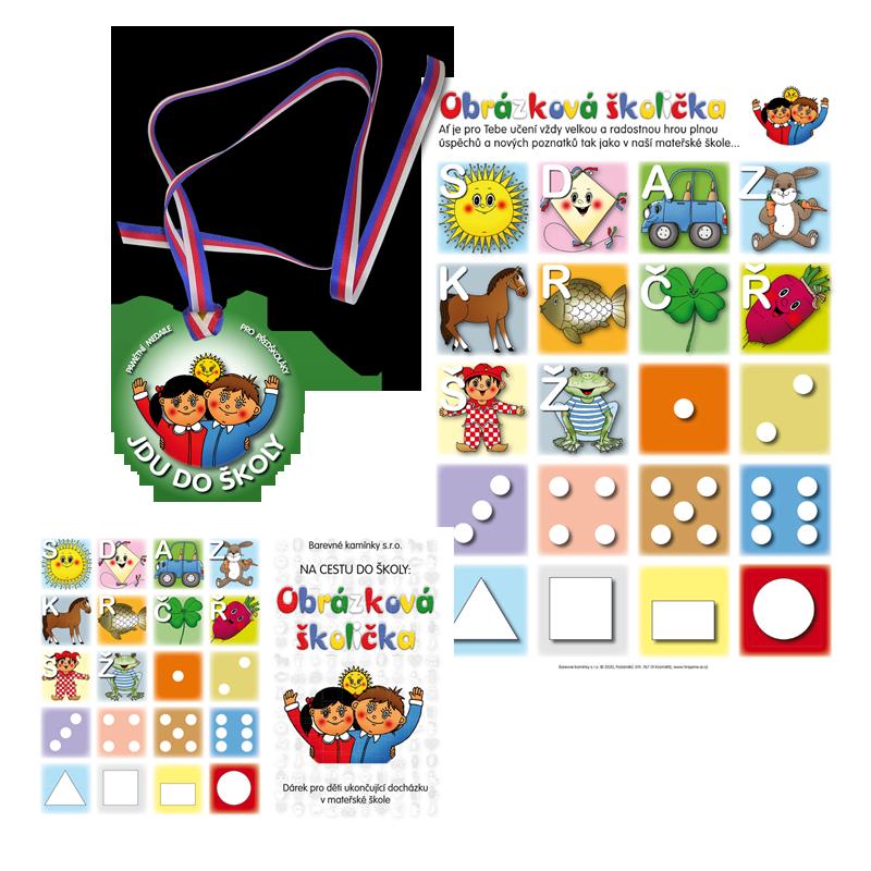 Komplet č. 8: Sešit Obrázková školička, samolepky a medaile Jdu do školy