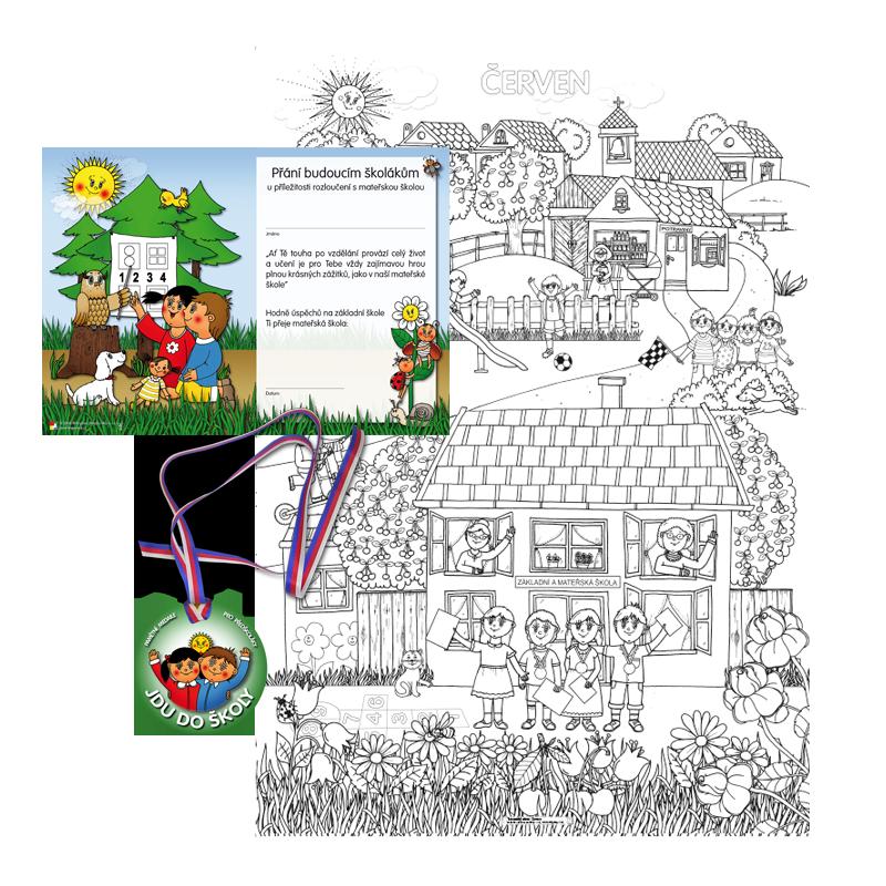 Komplet č. 11: vymalovánka - obraz A1 Červen, přání a medaile Jdu do školy