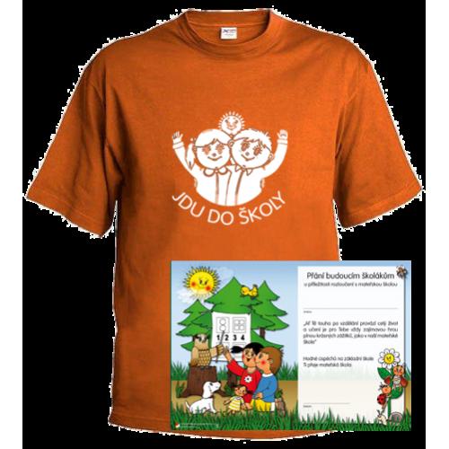 Tričko Jdu do školy, oranžové