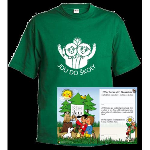 Tričko Jdu do školy, zelené