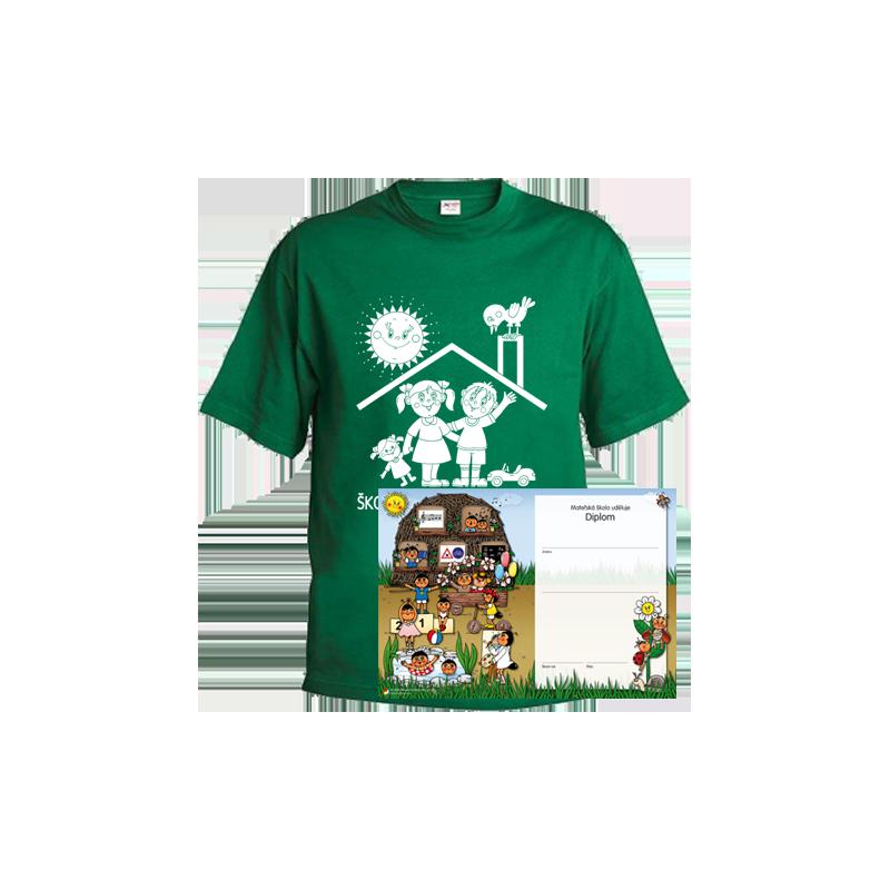 Tričko Školáček z mateřské školy, zelené
