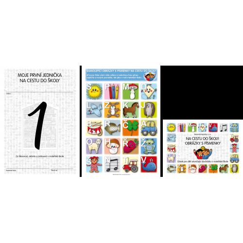 Komplet č. 1 pro budoucí školáky za zvýhodněnou cenu: Na cestu do školy - Obrázky s písmenky