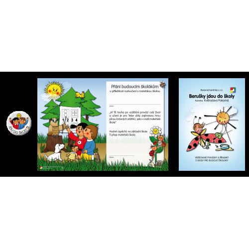 Komplet č. 6: Přání, odznak a knížečka Berušky jdou do školy